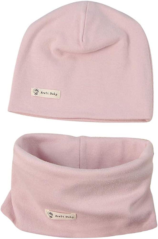 LACOFIA Conjunto de Sombrero y Bufanda de Cuello para bebé ninos y Ninas Gorro de algodón Recien Nacido Sombreros de Punto y pañuelos de Cuello Infantiles