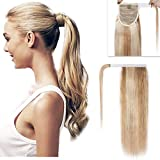 100% Remy Human Hair Ponytail Extension Wrap Around One Piece Hairpiece With Clip in Comb Binding Pony Tail Extension For Girl Lady Women Long Straight #18P613 Ash Blonde&Bleach Blonde 18'' 90g
