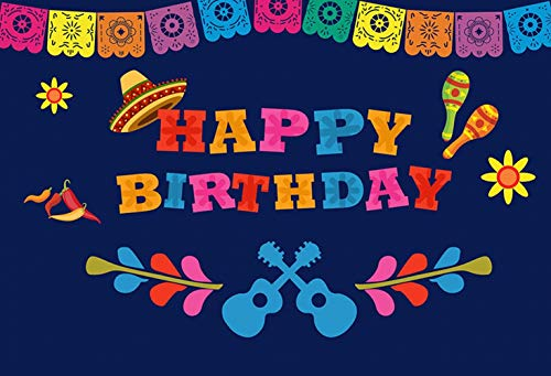ERIC 7x5ft Coco Birthday Theme Party Photography Backdrop Mexico Cactus Guitar Party Background Cinco de Mayo Colorful Flags Paper Flowers Banner Dress up Cake Table Decoration Photo Booth Props]()