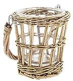 Lucky Winner Decorative Glass Vase in Wicker Basket (5.5'')