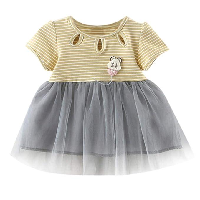 Vestido de Niña, Vestido para Bebés A Rayas Patchwork Tulle Falda Fiesta Princesa Vestido Tops Vestido de Fiesta Princesa Ropa de Bebe Niña Verano 2019 0-24 ...