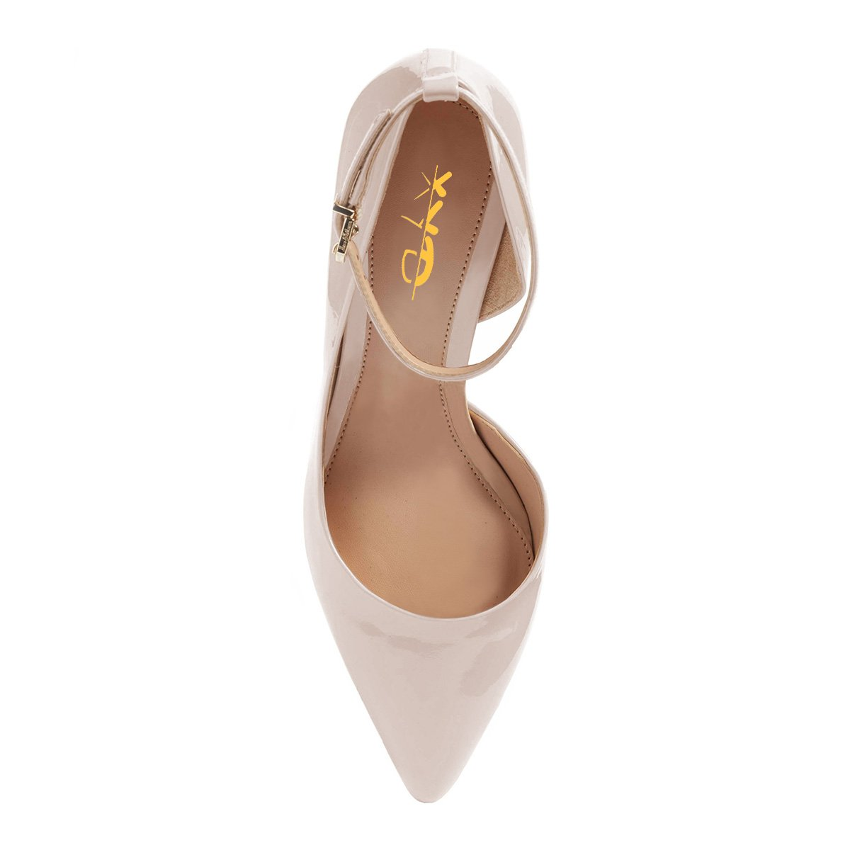 XYD Women Pointed Toe D'Orsay Mid Heel Pumps Ankle Strap Buckled Wedding Party Dress Shoes B078XQ7FXW 8.5 B(M) US|Beige