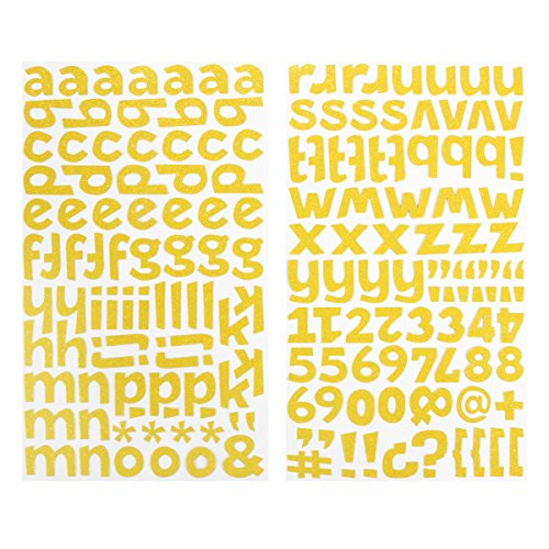 Darice 1219-63 172-Piece Glitter Alphabet Sticker, Lower Case Letters and Numbers with Bold Font, Yellow