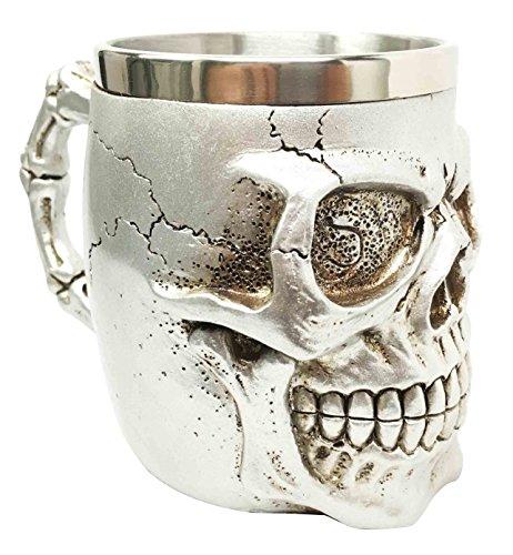 Silver Jointed Alien Skull Extra Terrestrial UFO Beer Stein Tankard Coffee Cup Mug (Skull Stein)