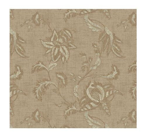 York Wallcoverings KC1836SMP French Dressing Jacobean Floral Scroll 8-Inch x 10-Inch Wallpaper Memo Sample, Pearled Tan/Palest Gray/Light (Floral Tan Scroll)