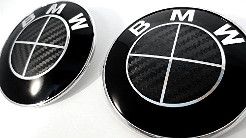 (ALL BLACK Carbon Fiber Sticker Overlay Vinyl for All BMW Emblems Caps Logos Roundels)