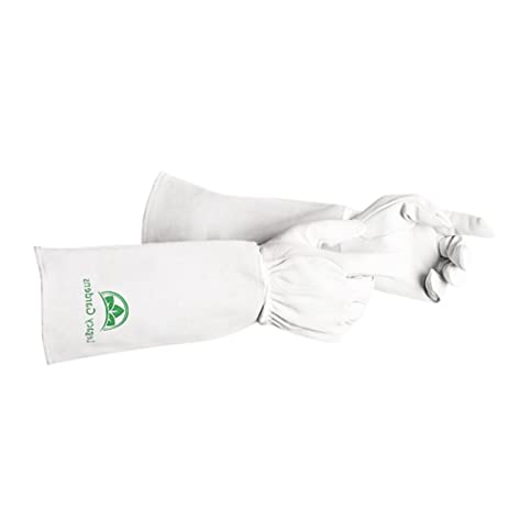 Premium Leather Gardening Gloves | Thorn And Cut Proof Gardening Gauntlets  Suitable For Thorny Rose Pruning