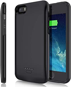TAYUZH Battery Case for iPhone 5/5S/SE, 4000mAh Slim Portable Protective Charging Case Rechargeable Extended Battery Pack Backup Battery Charger Case for iPhone 5/5S/SE(4.0 inch) - Black