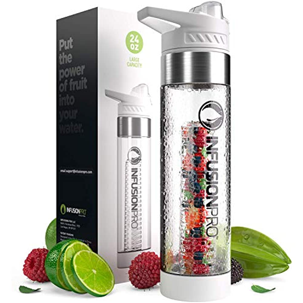 Fruit Water Bottle Sports Fruit Cup With Straw Lid and Infusion Basket 24oz US