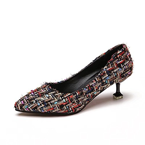 Talons En Noir Dames Les Tissu Mince De Pointe Hauts Style Temprament Chaussures Avec Pour 37 Lumire ffHtaqBw