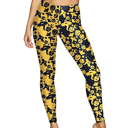 Patterned Pumpkin - Pumpkin Bat Ghosts Moon Star Patterned Printed Leggings M