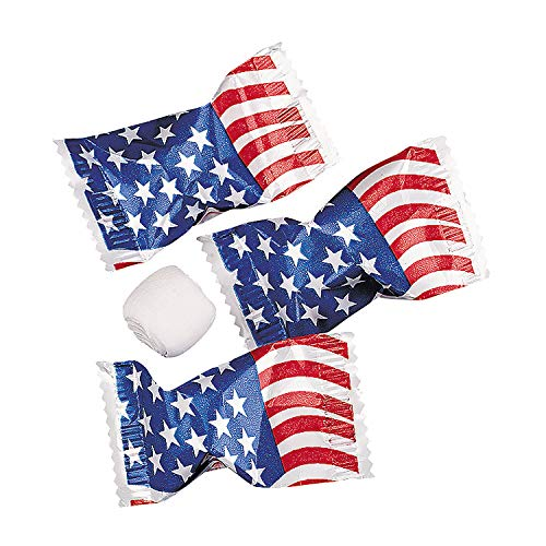 Fun Express - USA Flag Wrapped Buttermints for Fourth of July - Edibles - Mints - Buttermints - Fourth of July - 108 Pieces
