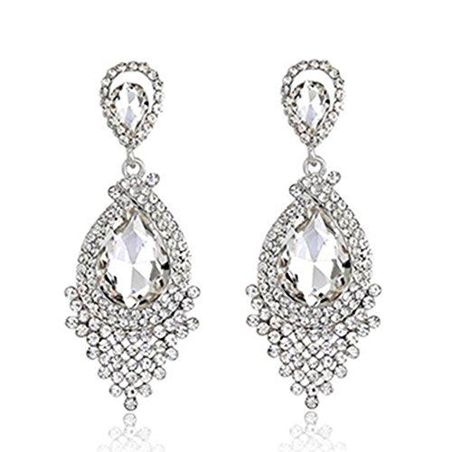 - Long Tassel Drop Earrings Full Rhinestone Crystal Chandelier Dangle Earrings (Style03)