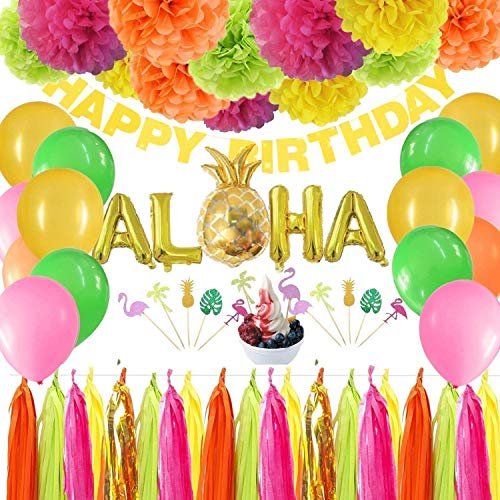 (Hawaiian Birthday Party Decorations Luau Party Supplies Moana Tropical Pool Themed Summer Aloha Balloons Tissue Pom Poms Tassel Garlands DIY Craft)
