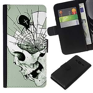 KLONGSHOP // Tirón de la caja Cartera de cuero con ranuras para tarjetas - Araña de Halloween del cráneo Death Metal - Samsung Galaxy A3 //