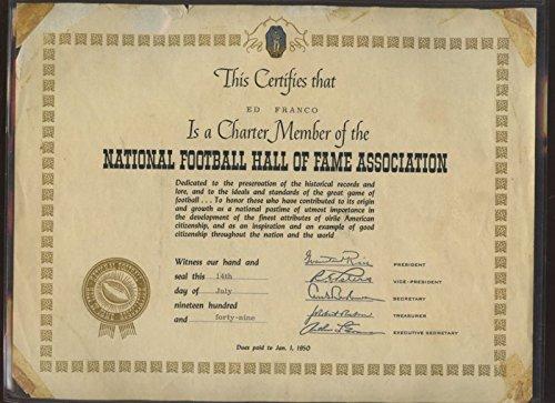 1949 National Football Hall of Fame Association Certificate Ed Franco