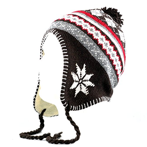the-hat-depot-700hat-23-fair-isle-sherpa-hat-with-pom-pom-brown