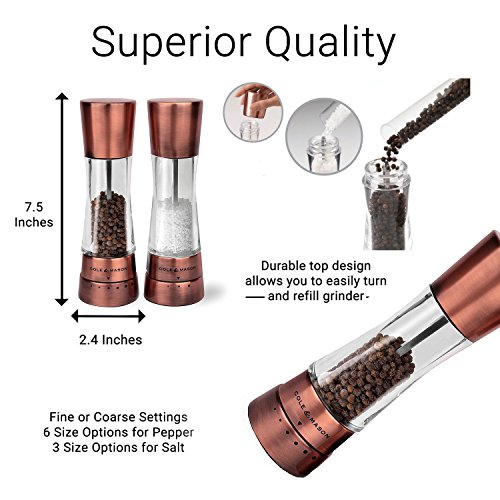 COLE & MASON Derwent Salt and Pepper Grinder Set - Copper Mills Include Gift Box, Gourmet Precision Mechanisms and Premium Sea Salt and Peppercorns by Cole & Mason (Image #2)