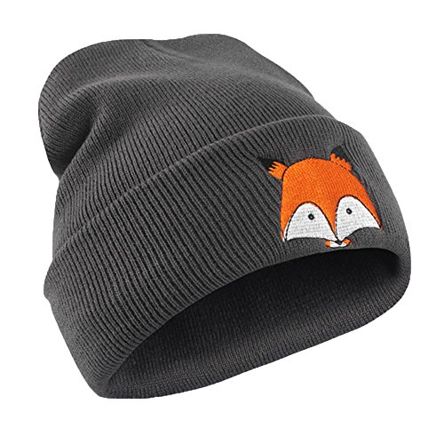 Clearance! Cute Fox Embroidery Pattern Hat Kids Soft Warm Hat Knitted Cap Hats for Toddler Baby Boys Girls (Dark Gray, Free)
