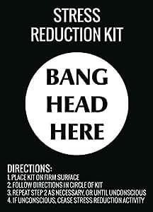 sfv0c7 Kit de reducción de estrés Bang Cabeza aquí para Colgar en la Pared de impresión Funny Directions–Señal de Metal de Aluminio
