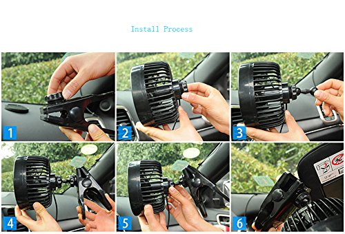 Jhua 12V 6 inch Car Clip Fan Automobile Vehicle Cooling Car Fan Powerful Quiet Speedless Ventilation Electric Car Fans With Clip Cigarette Lighter Plug for Summer by Jhua (Image #4)