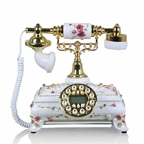 Wired Telephone Home Fixed Set Answer Machine Retro Creative Desktop Telephone Answering Machine (White,Resin, 232525CM) (Retro Phone With Answer Machine)