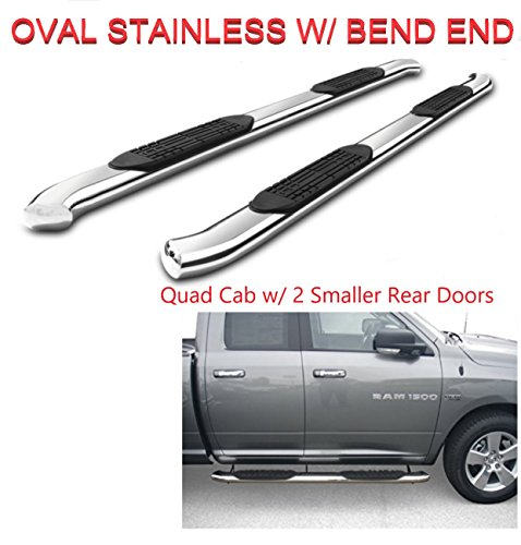 "Running Boards 5"" Oval Bent Polished Stainless Nerf Bars Side Steps for 2009-2018 Dodge Ram 1500 Quad Cab (w/ 2 3/4 Rear Doors)(NO 2019) 2010-2018 Dodge Ram 2500 3500 Quad Cab(NO 2019)"