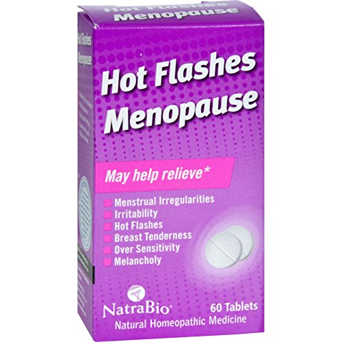 Natra Hot Bio Flashes - NatraBio Hot Flashes Menopause Relief - Natural Homeopathic Medicine - No drowsiness - 60 Tablets (Pack of 2)