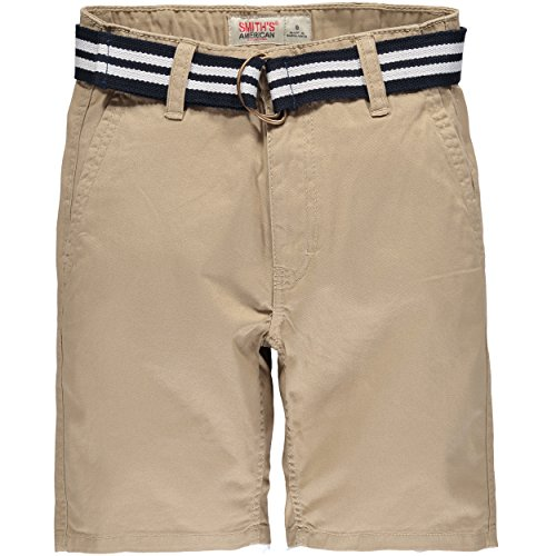 Belted Chino (Smith's American Belted Flat Front Chino Shorts (4, Khaki))