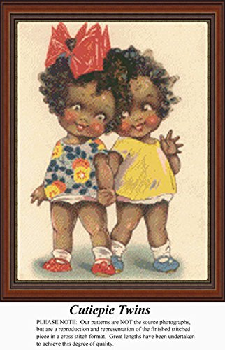 Cutiepie Twins, Vintage Counted Cross Stitch Pattern (Pattern Only, You Provide the Floss and Fabric)