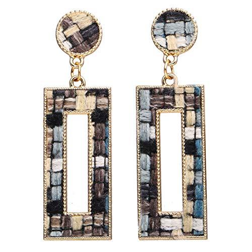 (SKYEARRING Geometric Cotton Drop Earrings for Women Vintage Heart Round Triangle Dangle Earring Pendant Jewelry Gifts)