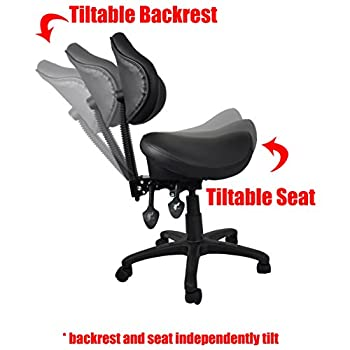 2xhome - Ergonomic Adjustable Rolling Saddle Stool Chair with Back Support for Clinic Hospital Pharmacy Medical Beauty Lab Exam Office Technician Physical Occupational Therapy Physician…