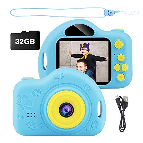 Kids Camera, Digital Video Camera Children Creative DIY Camcorder with Rechargeable Battery Birthday / Christmas / New Year Toy Gifts for 3 4 5 6 7 8 9 10 Year Old Boys Girls with 32GB SD Card - Blue
