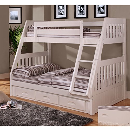 white bunk beds with storage