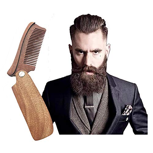 SookuDesign Folding Wood Comb Brush – Pocket Size for Men and Women Hair and Beard Mustache