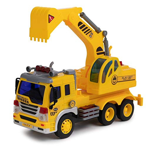 (Toy To Enjoy Excavator Truck Toy with Light & Sound Effects - Friction Powered Wheels & Moveable Claw - Heavy Duty Plastic Construction - Bulldozer Digger Vehicle for Kids &)