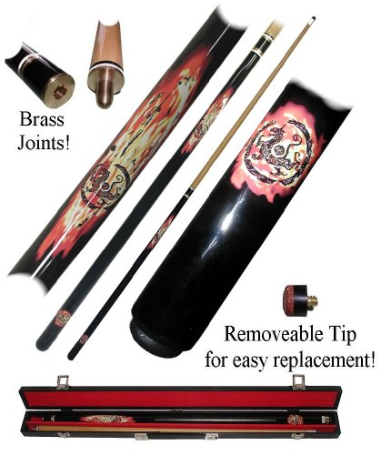 Hardwood Dragon Inferno Design 2-Pc Pool Stick Cue with Carrying Case by TMG