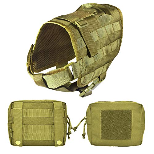 Petsidea Tactical Dog Molle Vest Harness Adventure K9 Hunting Training Vest Kits with Removable Saddle Bags Pouches (Tan, Large)