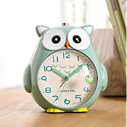 Cute owl alarm clock Colorful cartoon alarm clock Student alarm clock Animal alarm clock (Color : Green)