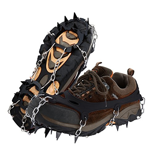 isYoung Anti-Slip Ice Gripper 18 Teeth Welding Chain Stainless Steel Crampons Ice Cleats Easy Strolling On Snow and Ice For Winter Walking Fishing(Men 6-10.5/ Women 5-12) (black, M)