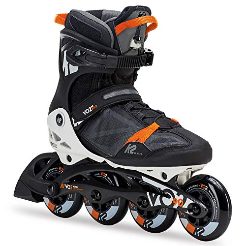 K2 Skate Men's Vo2 90 Pro Inline Skate, Black White Orange, 10 ()