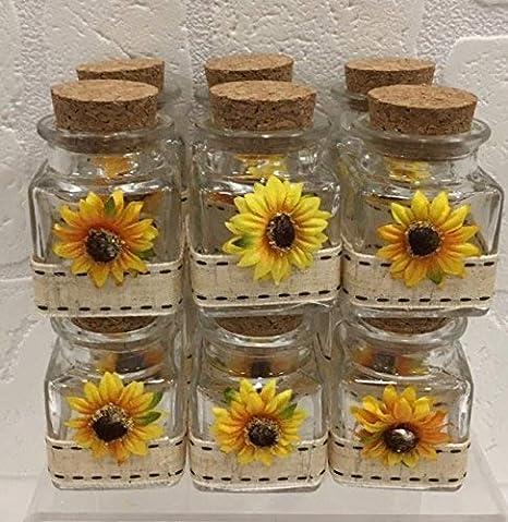Idee Per Matrimonio Tema Girasoli : 12 pz barattolo bomboniera portaconfetti con girasole e nastro