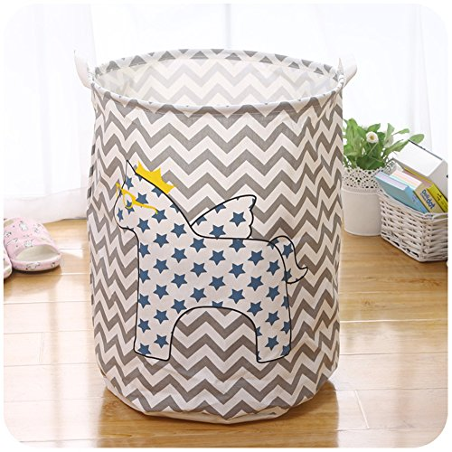 Kapool Collapsible Canvas Laundry Hamper Round Wire Mouth Cartoon Pattern Home Storage Basket with Handles for Dirty Clothes Baby Toys Office Sundries (Laundery Basket)