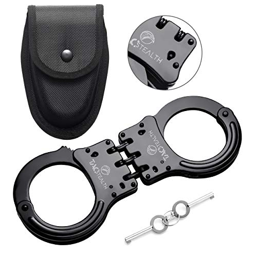 TacStealth Double Lock Hinged Handcuffs with Two Keys & Handcuffs Case | Heavy Duty Black Steal Professional Grade | Bend/Break Free Secure Restraint for Police Officer & Law Enforcement Constable
