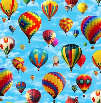 - 1 Yard in Motion By Elizabeth Studio Hot Air Balloons 100% Cotton Quilt Fabric 406 Blue