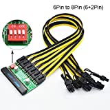 BAY Direct Mining Power Supply Kit - 12V GPU/PSU Breakout Board and 6PCS 16AWG PCIe 6Pin to 8Pin (6+2Pin) Cables (Length: 23.6in/60cm)
