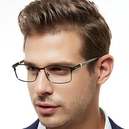 OCCI CHIARI Rectangle Full-Rim Metal Optical Glasses Acetate Arm for Bussiness Men (Gun, 54)