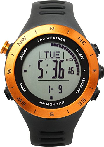 LAD WEATHER Outdoor Watch with HR Monitor Altimeter Digital Compass Weather Forecast USB Rechargeable (orange2)