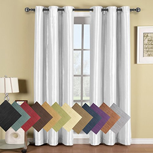 Soho White Grommet Blackout Window Curtain Panel, Solid Pattern, 42×84 inches, by Royal Hotel