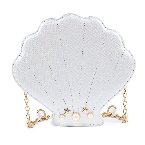 LUI SUI Women Novelty Laser Shell Shape Cross-body Shoulder Bags Pearl Chain Evening ()